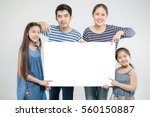 smiling happy asian family with ... | Shutterstock . vector #560150887
