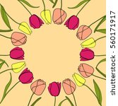 round frame with tulips | Shutterstock .eps vector #560171917