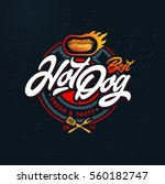 hot dog vector logo  fast food  ... | Shutterstock .eps vector #560182747