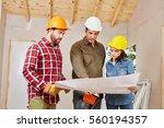 craftsman planning and talking... | Shutterstock . vector #560194357