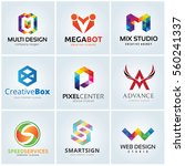 geometric letter logo set  | Shutterstock .eps vector #560241337