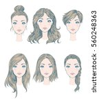 female hairstyles | Shutterstock .eps vector #560248363