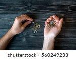 concept hour metal gears on... | Shutterstock . vector #560249233