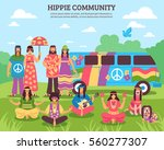 hippie composition with flat... | Shutterstock .eps vector #560277307