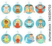 babies in twelve zodiac signs... | Shutterstock .eps vector #560304703