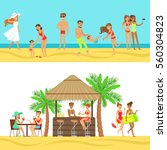 happy people on tropical beach... | Shutterstock .eps vector #560304823