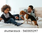 african american father and... | Shutterstock . vector #560305297
