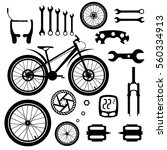 bicycles. set of bicycle parts | Shutterstock .eps vector #560334913