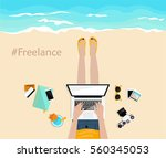 freelance. girl laying on the... | Shutterstock .eps vector #560345053