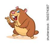 cute cartoon marmot. vector... | Shutterstock .eps vector #560374387