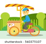 ice cream seller riding his... | Shutterstock .eps vector #560375107