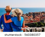 happy couple on vacation in... | Shutterstock . vector #560380357