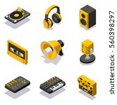 isometric dj equuipment icon set | Shutterstock .eps vector #560398297