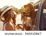 friends on a road trip make a... | Shutterstock . vector #560410867