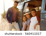 young family make a stop on a... | Shutterstock . vector #560411017