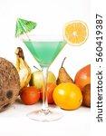 tropical fruit cocktail concept.... | Shutterstock . vector #560419387
