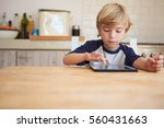 young boy using tablet computer ... | Shutterstock . vector #560431663