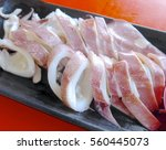 Small photo of Neritic squid closeup at restaurant