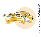 muscle car  hand drawn vector... | Shutterstock .eps vector #560446603