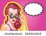 vintage woman portrait  vector... | Shutterstock .eps vector #560461063