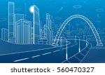 highway under the bridge. night ... | Shutterstock .eps vector #560470327