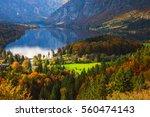 aerial view of bohinj lake in...   Shutterstock . vector #560474143