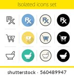 pharmacy icons set. flat design ...