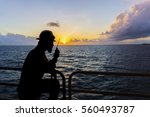 silhouette people. offshore... | Shutterstock . vector #560493787