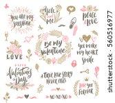 valentine's day hand drawn... | Shutterstock .eps vector #560516977