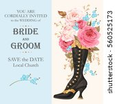 vintage wedding invitation | Shutterstock .eps vector #560525173