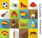 spain travel icons set. flat... | Shutterstock . vector #560527273