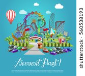 amusement park concept with... | Shutterstock .eps vector #560538193