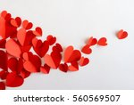 Flying red paper hearts on...
