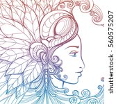 zentangle woman face with... | Shutterstock .eps vector #560575207