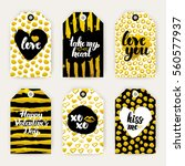 valentine day gold gift labels. ... | Shutterstock .eps vector #560577937