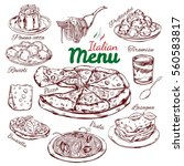italian food sketch collection... | Shutterstock .eps vector #560583817