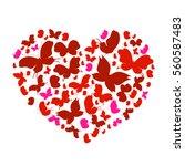 Butterflies Red  Heart  On A...