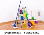 cleaning supplies and equipment ... | Shutterstock . vector #560595253