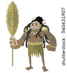 great maori fighter with... | Shutterstock .eps vector #560631907