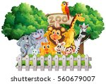 scene with zoo animals and sign ... | Shutterstock .eps vector #560679007