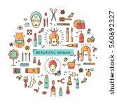 beauty infographic  cosmetics...   Shutterstock . vector #560692327