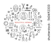 beauty infographic  cosmetics... | Shutterstock . vector #560692333