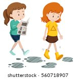 girls walking with careless and ... | Shutterstock .eps vector #560718907