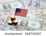us flag sign and dollar cash... | Shutterstock . vector #560743207