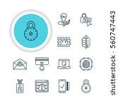 illustration of 12 data icons.... | Shutterstock . vector #560747443