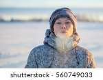Small photo of Healthy breath. Cold weather portrait