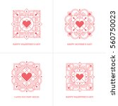 set of four red linear heart... | Shutterstock .eps vector #560750023