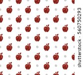 seamless red apple glitter... | Shutterstock .eps vector #560750293