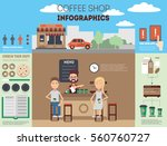 coffee shop infographics pack... | Shutterstock .eps vector #560760727