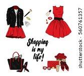 a set of fashionable women's... | Shutterstock .eps vector #560761357